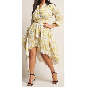 Plus Size High-Low Floral Wrap Dress